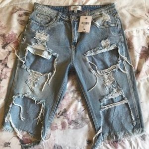 Forever 21 Distressed Bermuda Shorts